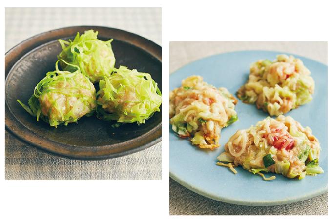 フライパンで作れるおかず「お野菜シュウマイ」と「ツナとキャベツのピザ風」【フライパンで作れるピカピカおかずカタログ】
